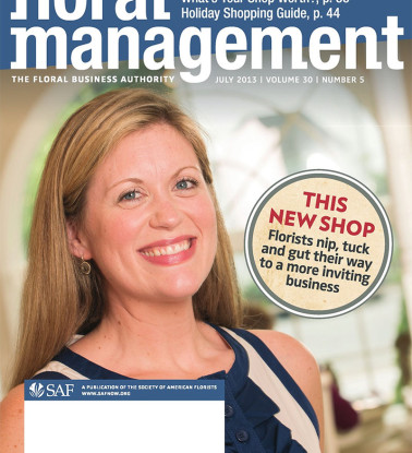 Kaitlin Radebaugh, cover of July 20123 Floral Management. © 2013 Jay Mallin