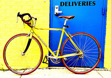 Yellow bike at Bruce Variety in Bethesda, MD