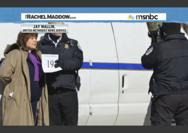 United Methodist Bishop Minerva G. Carcaño is photographed after arrest during a protest over immigration policies at the White House. Still photo one of a series used on MSNBC's Rachel Maddow show.