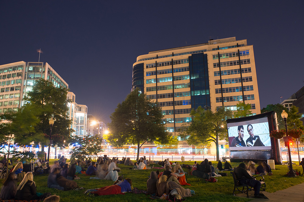 Movie shown in Farragut Square, Washington, DC.