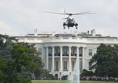 "The president leaves the White House on the ""Marine One"" helicopter."