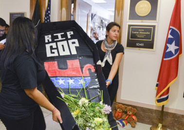 "Immigration Activists Hold ""Funeral for the Republican Party"""