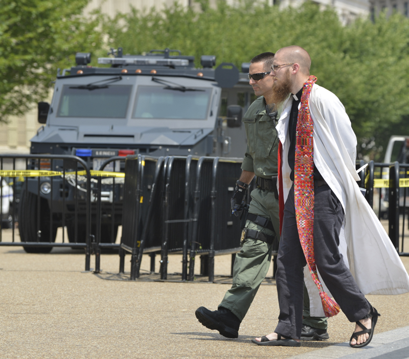 Police Bring Armored Personnel Carrier to Faith Leaders' Immigration Protest