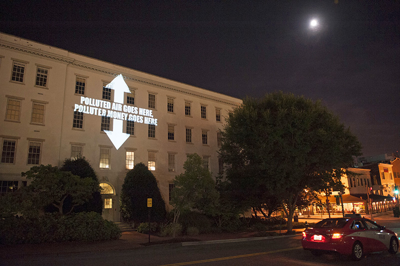 Climate Change and Anti-Pollution Messages Projected on DC Headquarters