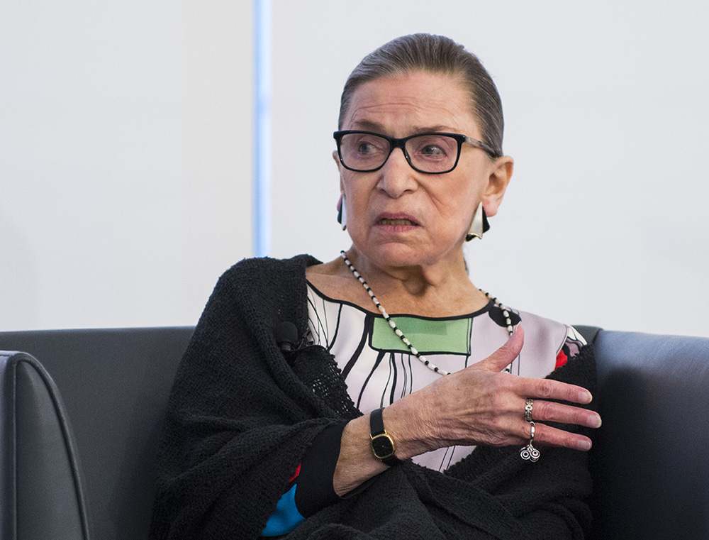 Justice Ruth Bader Ginsburg speaks at an event sponsored by Duke University and held at Jones Day in Washington, DC on Aug. 4, 2016.  Photo:  Jay Mallin    jay@jaymallinphotos.com