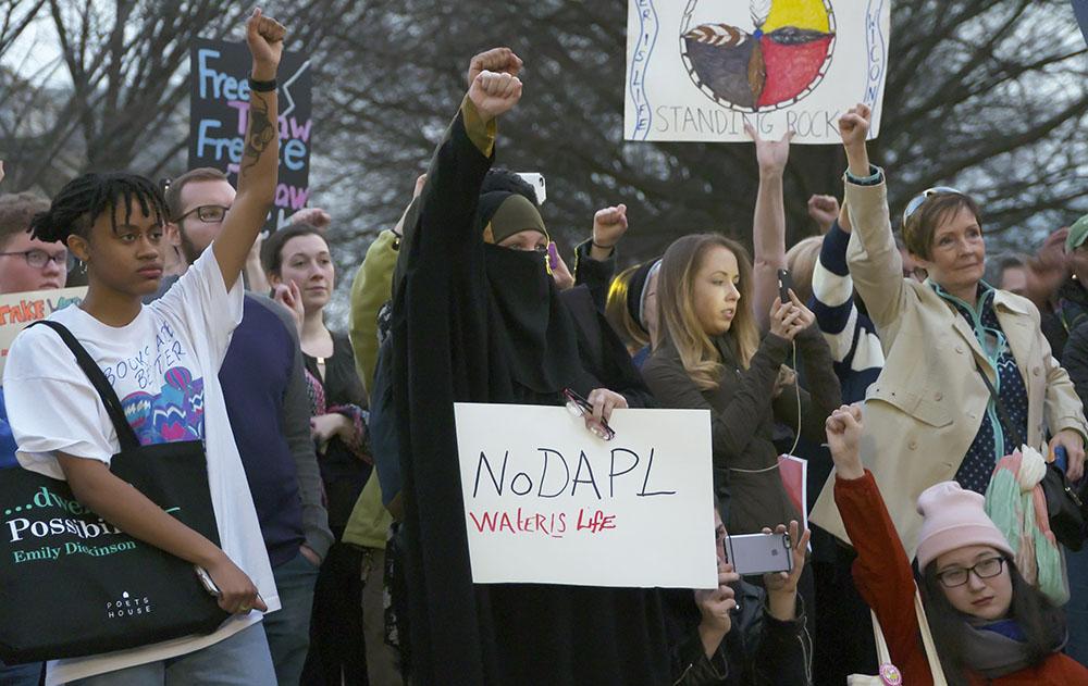 Protest against the Dakota Access Pipeline outside the White House in Washington, DC, on Feb. 8, 2017. Photo:  Jay Mallin    jay@jaymallinphotos.com