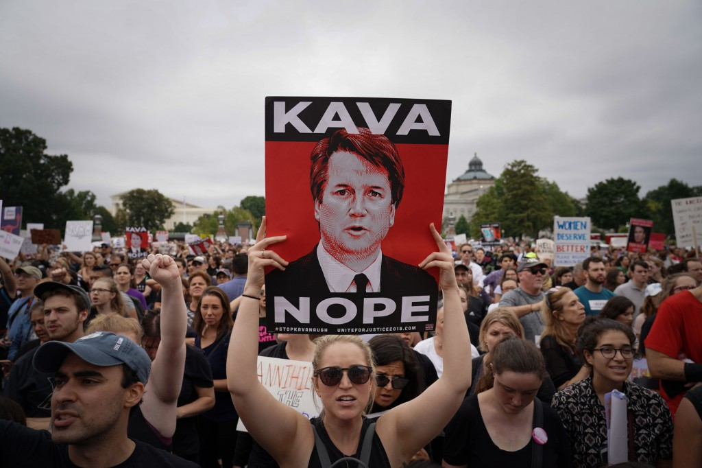 Hundreds of protesters flooded the front of the U.S. Capital and Supreme Court as the U.S. Senate voted to confirm Judge Brett Kavanaugh to a seat on the U.S. Supreme Court. Police arrested dozens during the protests. Photo:  Jay Mallin